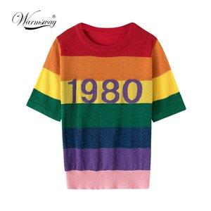 Warmsway Yeni Moda Gökkuşağı Çizgili T Gömlek Kadın Kısa Kollu Örme Yaz Üstleri Tee Harajuku Pullu Üst Camisetas B-100 S19715