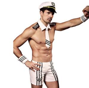 남성 해군 나이트 클럽 섹시한 란제리 남자 4PCS 매력 유니폼 선원 코스프레 흰색 속옷 남자 한 사이즈 세트