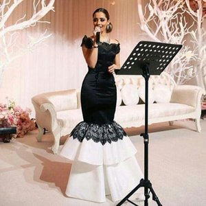 Off the Shoulder Mermaid White and Black Evening Dress Bateau Neck Lace Appliques Long Prom Party Gown Celebrity dress