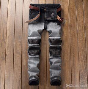 Mens empalideceu plissadas Hetero Leg Jeans Slim Fit Designer Fold painéis motociclista reta calças jeans lápis Streetwear DYL6613
