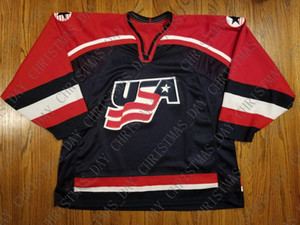 Team USA pas cher sur mesure Vintage olympique Jersey FIHG Navy Cousu Retro chandail de hockey Personnaliser un numéro de nom XS-5XL