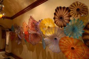 100% Placas de pared de vidrio soplado a mano Modern Art Deco Glass Wall Arts Chihuly Style Flower Shape Decoration