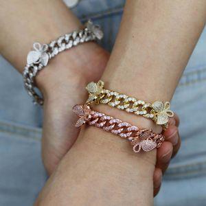 10 mm Rose Miami Cuba Bracelet avec le papillon Bling femmes Bijoux Zircon Hip Hop Bangle Chain