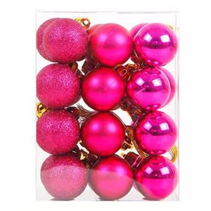 Surwish 12Pcs / Lot 6 centimetri palla di Natale appeso Albero Palla ornamenti per Xmas Decor Party - Rosy / rosso / rosa / bianco