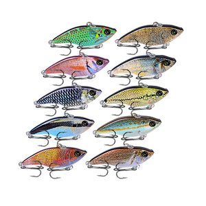 "10PCS Pencil Fishing Lures VIB Bait 14g-0.49oz Fishing Tackle 8# Hooks 3D Eyes Bass 5.4cm-2.12"" Baits 10 Colors 2018 New Style"