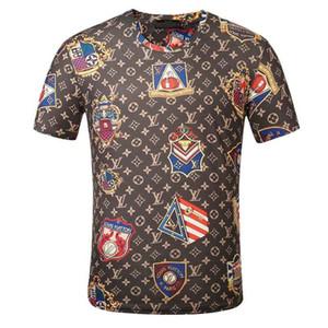 2020 nuevo diseñador de la letra del verano de la marca camiseta de la manera camiseta de los hombres de la impresión ropa de manga corta de los hombres de lujo