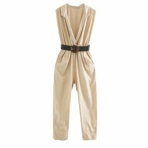 Flabbit 2020 women Lapel open the chest Sleeveless Jumpsuit Frill Knickerbockers With a belt occupation one-piece garment