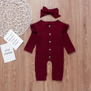 2PCS Newborn Baby Girl Boy Rompers Clothes Knitted Cotton Long Sleeve Romper Jumpsuit Solid Headband Outfits