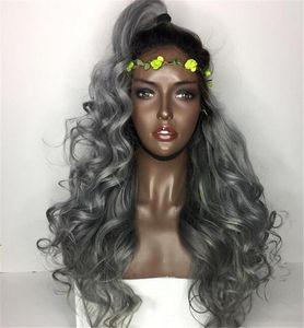 el pelo ombre brasileña gris llena del cordón humano pelucas onduladas de plata gris sin cola peluca delantera del cordón densidad de 130% con los nudos blanqueados 1b gris
