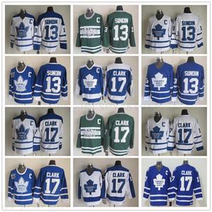 Vintage Toronto Maple Leafs 17 Wendel Clark Hokeyi Formalar Retro Classic 75. Yıl 13 Mats Sundin Jersey Nakış C Yama S-XXXL
