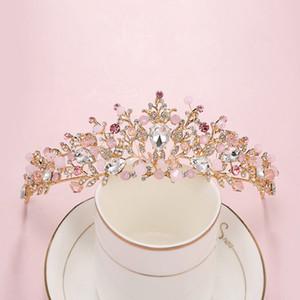 Bridal Jewelry Corone di fiori capelli della sposa di cristallo del diadema della principessa Crown diademi da sposa Accessori per capelli barocca festa di compleanno Diademi Orecchini