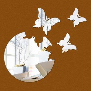 Multi-pièces chaud vente 3D mur 3D argent surface miroir décoration papillon fond vente chaud sticke