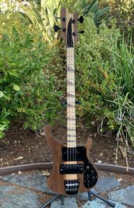 4003 Natural Walnut Baixo 4 cordas graves Ric 4003 Abalone Triângulo Inlays Guitarra baixa elétrica de bordo Neck Thru Corpo Um PC Neck corpo