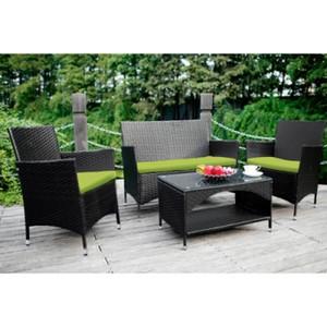 4 ADET Patio Mobilya Açık Bahçe Konuşma Hasır Koltuk Takımı, Yeşil Minder mobilya dış mekan mobilyaları kamış sandalye veranda