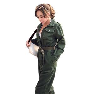 Kadınlar Vintage İş Kıyafetleri İnce Jeans Tulum Yüksek Bel sokak giyim kemer Romper Ordusu Yeşil Kot tulumları Kovboy İş Suit A9209