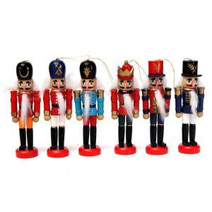 Miniatura de madera cascanueces Soldado muñeca Figuras de la vendimia artesanal de marionetas Año Nuevo Adornos de Navidad Decoración