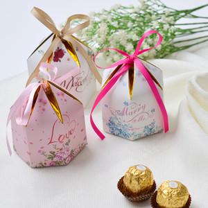 100PCS Creative mariage européen romantique hexagonal avec des cadeaux comme boîte à bonbons partie fournitures Bomboniera cadeau boîte Baby Shower Birthday Suppli