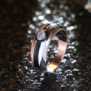 Fashion Silver Rose Gold Color Mix Women Ring Simple Design Single Cubic Zirconia Mosaic Anniversary Gift Elegant Ladies