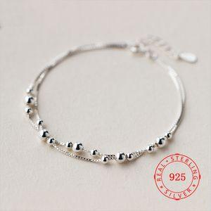 Китай Иу высокого качества 925 Серебряный Double Box Layer цепи браслеты для женщин изящных ювелирных изделий подарка дня рождения бисер браслет