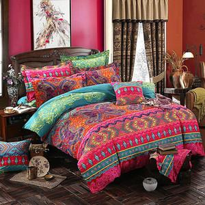 4pcs Bohemian letto di Boho Stampato Mandala singolo copripiumino Federe lenzuolo Queen Size Lenzuola Home Textile