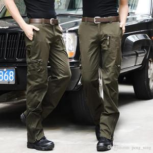 Havadan Kot Rahat Eğitim Pamuk Nefes Çok Cep Ordu Kamuflaj Kargo Taktik Pantolon Erkekler için Pantolon