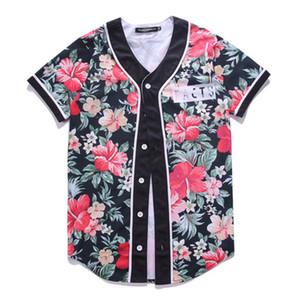 2019 Nuevos hombres / mujeres camiseta 3d con cuello en v Árbol estampado de dibujos animados Hip Hop Button Poker AQK Cardigan Baseball Shirt Half Sleeve