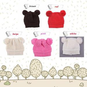 5 Styles Enfant Bébé unisexe Double Bobbles Bonnets tricotés Chapeaux nervuré Enfants Enfants Automne hiver chaud Caps Solid Color