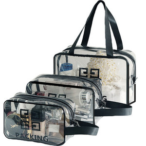 Fashion Transparent Travel Bag Zipper Printed Letters Bag Female Portable Male Waterproof Bath Pocket Buggy Bag