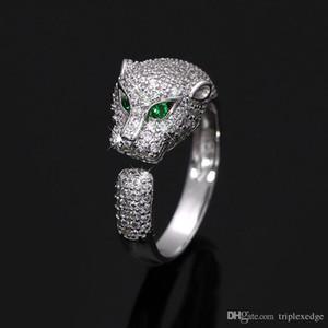 Европейский и Американский новый стерлингового серебра 925 леопард глава микро инкрустированные полный Циркон регулируемый кольцо женская мода обручальное кольцо