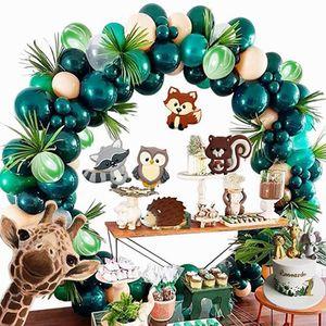 Thème Safari Jungle Party Supplies vert Ballons Garland Arc Kit anniversaire baby shower Décorations festives de Noël Forêt