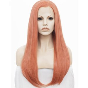 180 % 밀도 Glueless 레이스 프런트 가발 롱 스트레이트 가발 여성을위한 핑크 합성 가발 내열성 섬유 드래그 퀸 코스프레 레이디