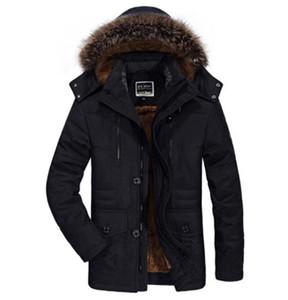 Casual ispessite con cappuccio da uomo frangivento inverno Pocket Giù Plus Size cappotti Medio lungo solido di colore Mens Outerwear Patchwork Abbigliamento maschile