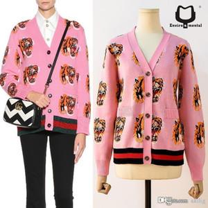 2019 New Outono e Inverno Vestuário feminino coberto Shirt Tiger cabeça de impressão V-Neck Knit Cardigan Sweater Womens Casacos mulheres designer de camisola