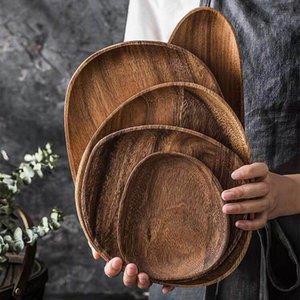 5pcs / lot Lovesickness madera oval irregular entero de madera maciza placa de madera Pan platos de frutas platillo té bandeja Postre Plato del vajilla