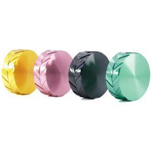 Tire Impressão Herb Grinders 4 cores liga de alumínio 56 * 21mm 2 camadas Tobacco Crusher Acessórios fumar OOA7256-2