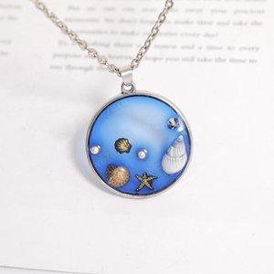 2020 neue Art und Weise Halskette Shell Starfish-Perlen-Halskette Halskette Blue Ocean Halskette Schmucksachen für Frauen Geschenk