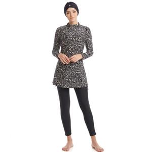 Copertura Modest costume da bagno islamico burkini completa arabo islamico a maniche lunghe Swimming Set Bearwear Hijab vestito di bagno Swimwear S-4XL