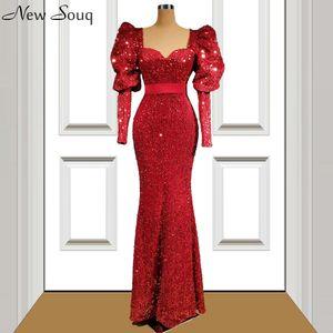 Wine Red Long Sleeve Sequined Evening Dresses Mermaid Arabic Style Floor Length Evening Gowns Vestidos De Soiree