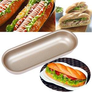 For Hot Dog Carbon Steel Mold Kitchen Baking Bun Pan Bread Mould Non Stick Bakeware 7 Inch Oval Cake Mold moldes para reposteria
