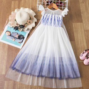 Fancy Girls Dress Summer Lace Geometric Wedding Evening Children Clothes Kids Dresses for Girls Birthday Party Size 4-10 Years