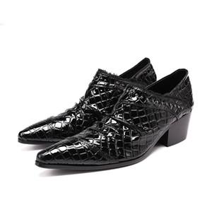 Homens de negócios de moda italiana Formal masculino paty prom sapatos Altura Crescente Men Party Wedding Dress Shoes