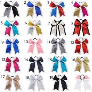 7 Inch Large ponytail holder glitter Cheer Ribbon Bows Grosgrain Cheerleading Bows Tie With Elastic Band Girls Rubber Hair Band Beautiful