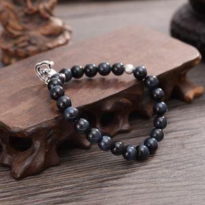Blue Tiger Eye Stone Beads Tibetan Buddhism Vajra Charm Stretch Couple Lucky Bracelets