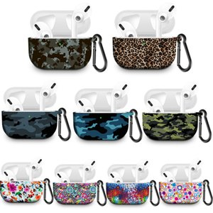 Silicone Case Cover Camouflage Leopard Printed for Airpods Pro with Anti Lost Hook Compatible for AirPods Pro Protective Case