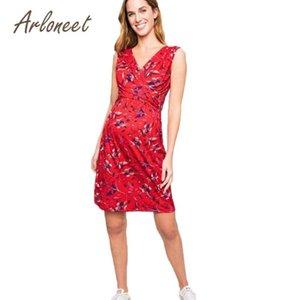 ARLONEET Clothes Women Maternity Dress Flower Sleeveless Breastfeeding Dress 2020 Summer Ladies Pregnancy Casual Clothes