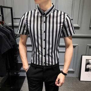 High Quality Men's Shirt Short Sleeve Striped Shirt Casual Slim Dress Shirts 2020 Summer Streetwear Socia Tops Chemise Homme