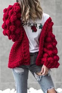 달콤한 느슨한 솔리드 색상을 손에 의하여 뜨개질을 하는 공 카디건 패션 스웨터 랜 소매 여성 디자이너 캐주얼 스웨터