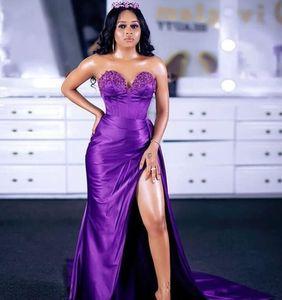 2020 Sexy Evening Dresses sweetheart Ruffles Mermaid Prom Dress High Split Custom Made Long Formal Gowns