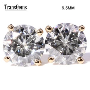 Transgems Klasik 14K 585 Sarı Gold'un 2ctw 6.5mm FGH Renk Şeffaf Moissanite Diamond Stud Küpe İçin Kadınlar Geri Çekilmesi Küpe Y200620