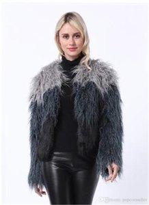 Casaco Comprido Mink Faux Fur Imitação Outwear Casual Brasão manga comprida Ladies Vestuário Mulheres Moda Desigenr Faux Fur